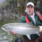 River fishing for freshwater Salmon on Vancouver Island
