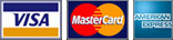 Payment methods Visa, Mastercard and American Express